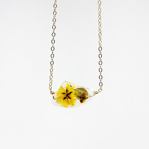 Geometric Yellow Real Flower Charm Necklace