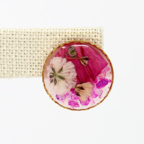 Pink Carnation Gold Earrings