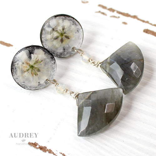 Grey Labradorite White Pressed Flower Black and Gold Earrings