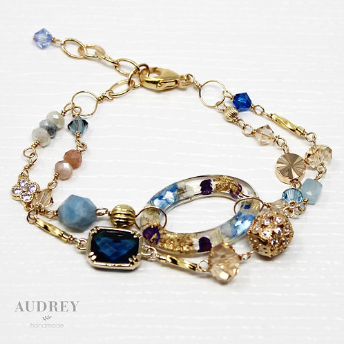 Blue Flower Double Gold Bracelet