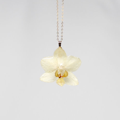 White Mini Orchid Flower Necklace