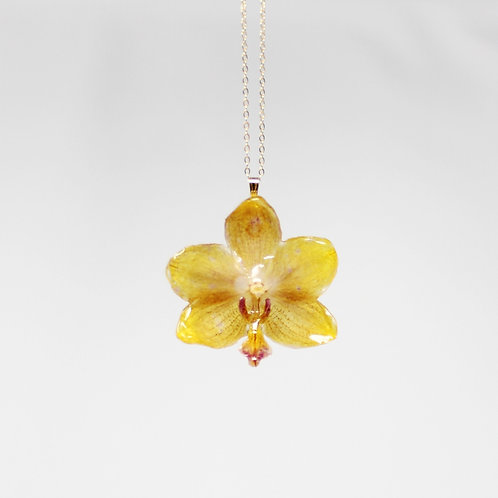Yellow Mini Orchid Flower Necklace