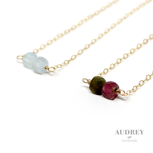 Duo Square Stone Dainty Necklace