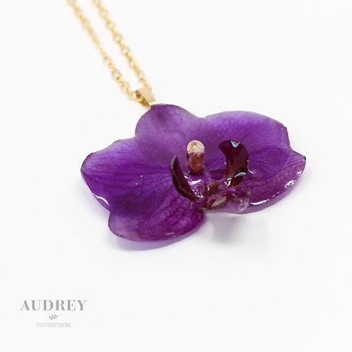 Purple Mini Orchid Flower Necklace