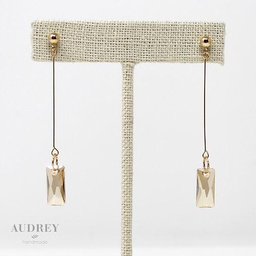 Rectangle Gold Drop Earrings