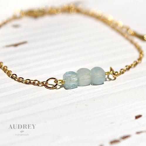 Blue Aquamarine Three Cubes Bracelet