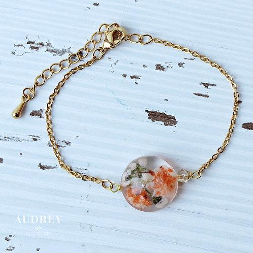 Orange Pressed Flower Bracelet