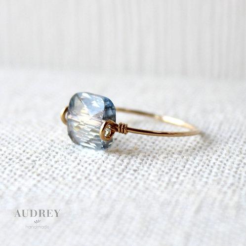 Smoky Blue Crystal Dainty Gold Ring