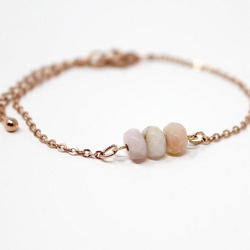 Pink Opal Layering Rose Gold Bracelet