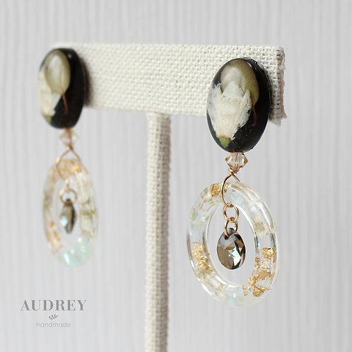 White Pressed Flower Crystal Earrings