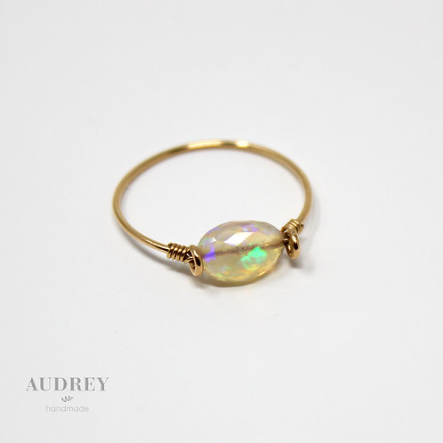 Dainty Gold Ring Long Opal