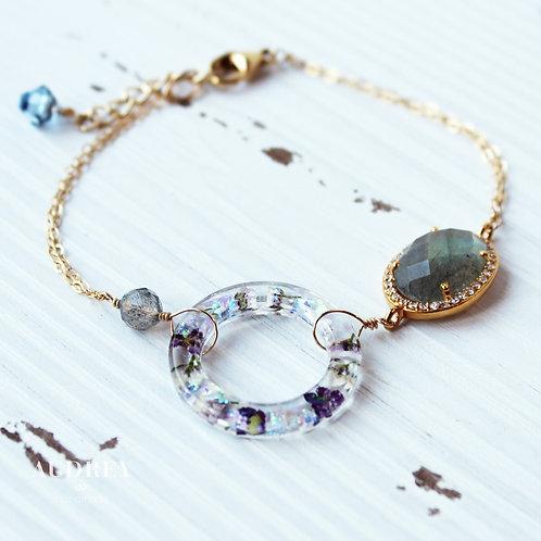 Labradorite Flower Ring Bracelet