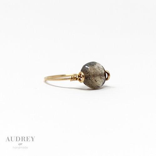 Dainty Gold Ring Round Labradorite