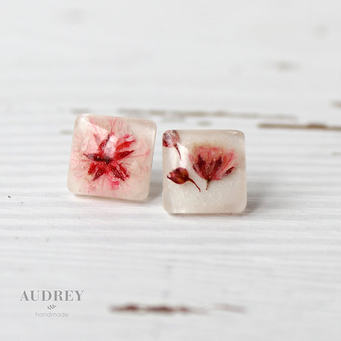 Pink Pressed Flower White Square Earrings