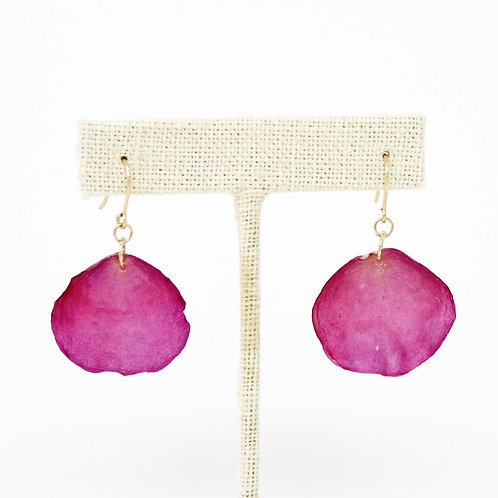 Pink Rose Petal Earrings