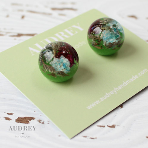 Green Blue Preserved Flower Dome Earrings