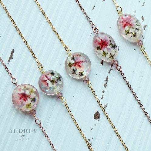 Pink Pressed Flower Bracelet
