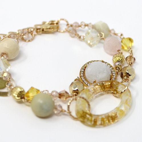 Yellow Flower Moonstone Gold Bracelet