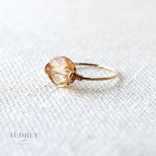 Gold Swarovski Crystal Dainty Ring