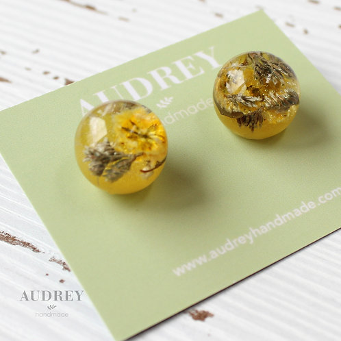 Yellow Preserved Flower Dome Earrings