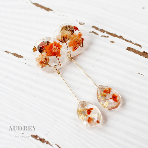 Orange Pressed Flower Drop Earrings