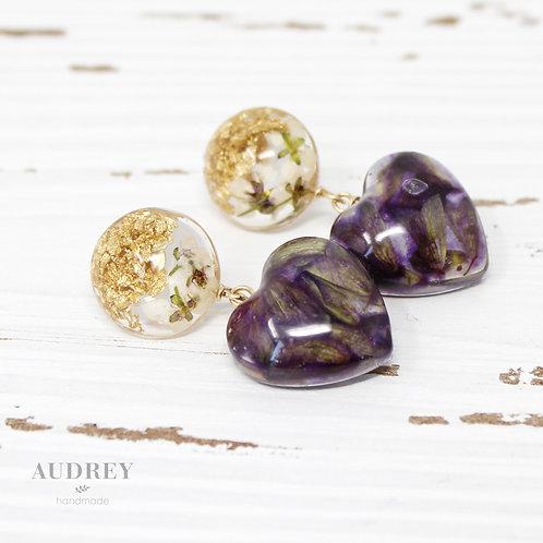 Purple Lavender Heart Earrings