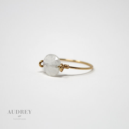 Dainty Gold Ring Round Rainbow Moonstone