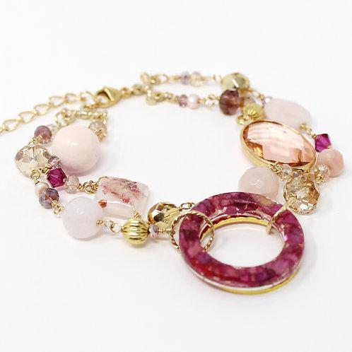 Pink Rose & Stones Gold Bracelet
