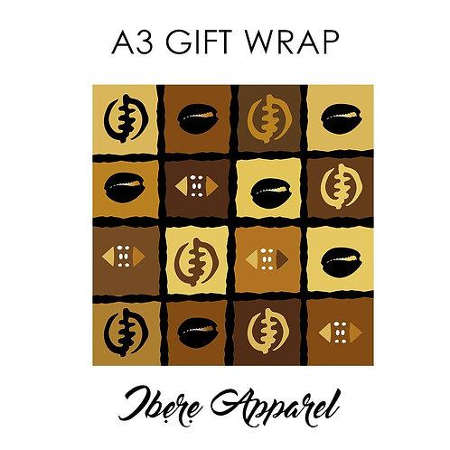 Gye Nyame & Cowries | Adinkra Symbols | African Print Gift Wrap