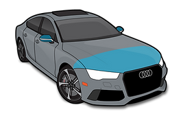Audi RS7 illustration indicating AFS Basic clear ba package with hood fender tips mirror backs