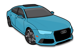 Audi RS7 illustration indicating AFS Custom Full clear ba package with hood fender tips mirror backs headlights doors roof trunk full coverage