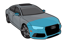 Audi RS7 illustration indicating AFS Ultimate clear ba package with hood fender tips mirror backs front bumper
