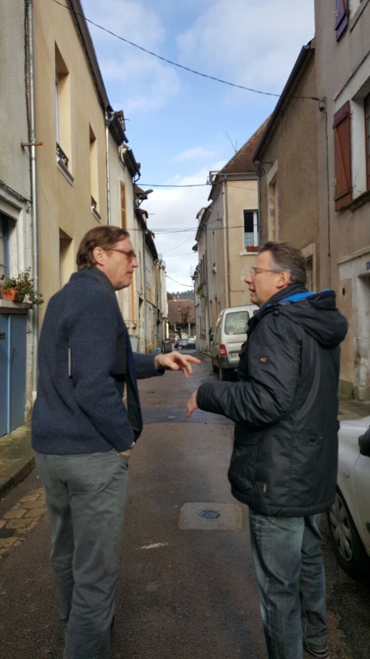 Billaud David and Samuel Talking in Street January 2016.jpg