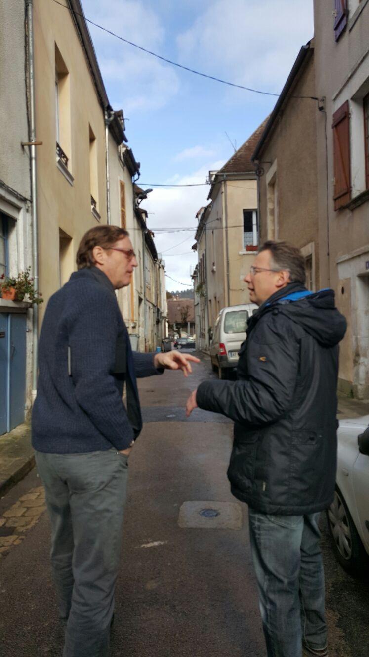 Billaud David and Samuel Talking in Street January 2016.jpg