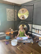 Jackie ready for a Gong Bath experience