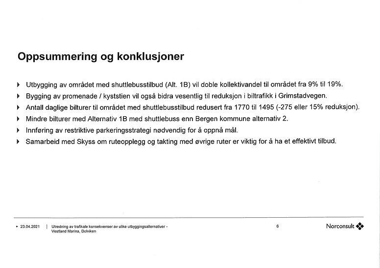 Konklusjoner trafikkrapport - Norconsult