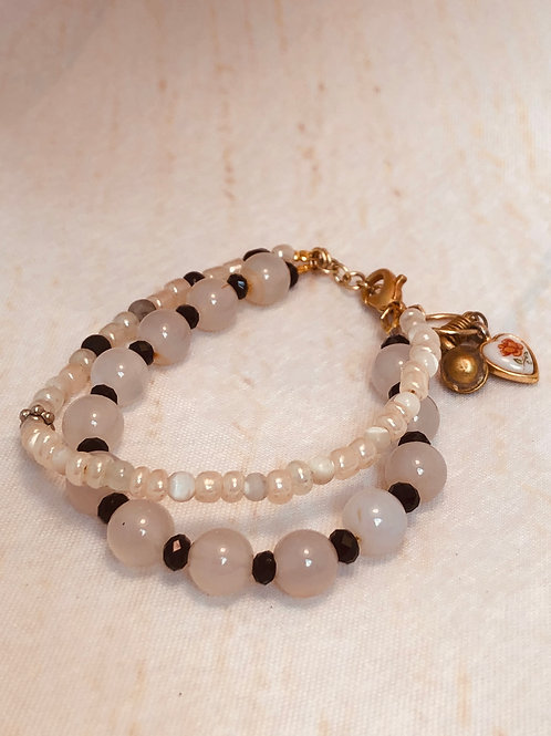 Rose Quartz and Czech Glass Bracelet