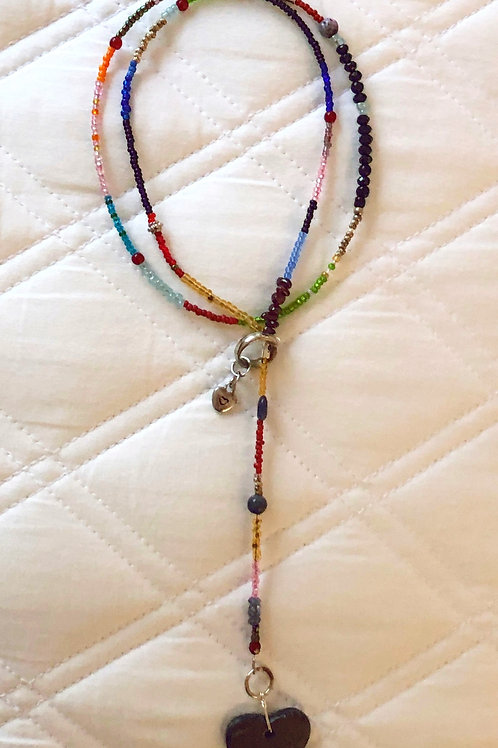 Lariat Heart Seed Bead Necklace