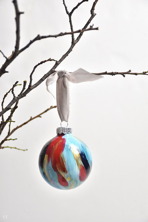 handpainted ornament - 8 cm -  glass  n12