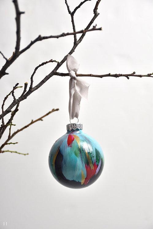 handpainted ornament - 8 cm -  glass  n11