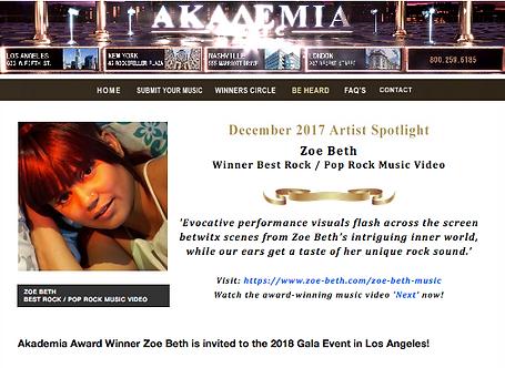 Zoe Beth™ Music International Award Pop_