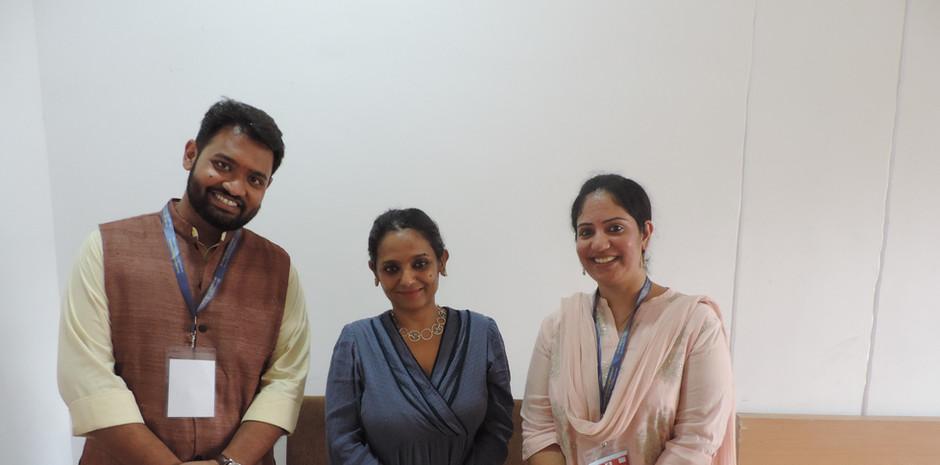Mr. Daksh Gaur, Founder, Blub world and Mrs. Aditi Gaur, Editor , Blub World with Ms. Rupa Jha - Head of Indian Languages, BBC World Service
