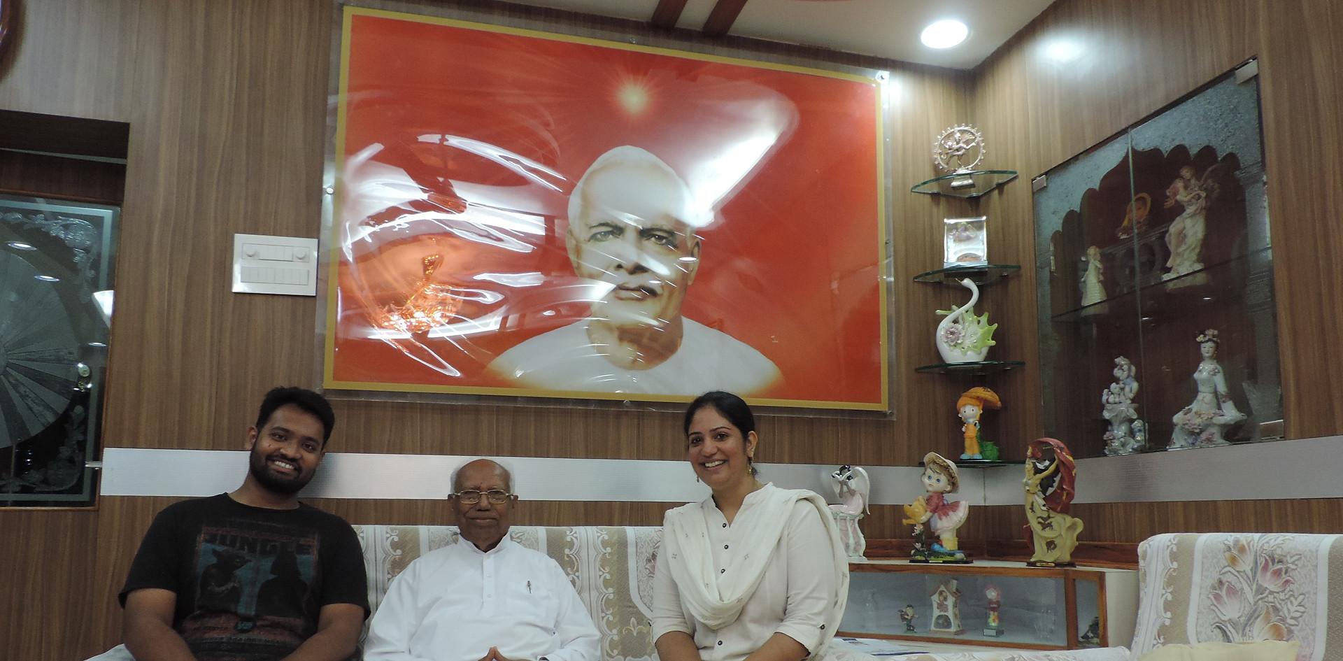 Mr. Daksh Gaur, Founder, Blub World and Mrs. Aditi Gaur, Editor, Blub world with Rajyogi B.K. Karuna Ji, P.R.O. & Chief of Multi Media, Brahma Kumaris