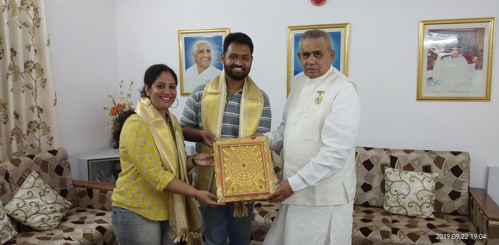 Rajayogi B.K. Mruthyunjaya Executive Secretary, and Vice-Chairperson - Education Wing, Brahma Kumaris World Headquarters Mount Abu honoring Mr. Dakh Gaur , Founder, Blub world and Mrs. Aditi Gaur, Editor, Blub World during the 3-day National Media Conference on 'Spirituality for Establishing Peace & Harmony – The Role of Media' held from September 20-24, 2019 at Brahma Kumaris World Headquarters, Mount Abu