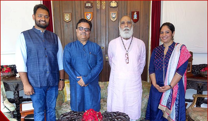 Mr. Daksh Gaur, Founder, Blub World, Prof. Ujjwal K. Chowdhury, Vice-Chancellor of the Adamas University of Kolkata, and Mrs. Aditi Gaur, Editor, Blub World with the former King of the Mewar Dynasty, Shree Arvind Singh Ji Mewar (3rd Left)