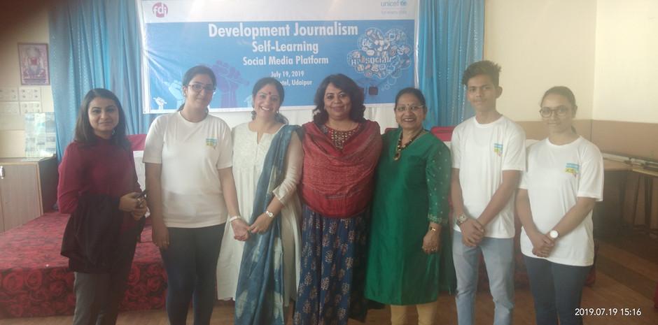 Blub world Team with Ms. Suchorita Bardhan, Communication Specialist, UNICEF India, Mrs. Veena Gaur, Chairperson, Blub World and Mrs. Aditi Gaur, Editor, Blub World