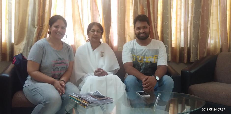 Mrs. Aditi Gaur, Editor, Blub World and Mr. Daksh Gaur, Founder, Blub World with B.K. Sarlaben, Cente Head, Brahma Kumaris – Hyderabad and National P.R.O. Brahma Kumaris