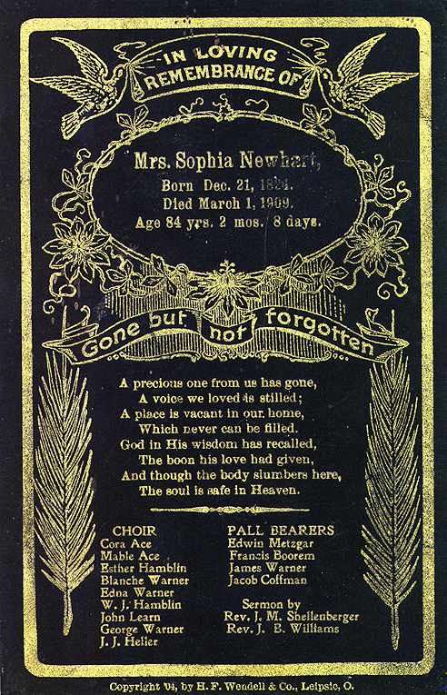 Sophia Newhart Remembrance Card