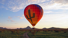 Enjoy a picturesque hot-air balloon flight over the mammoth Sonoran Desert. Experience the stunning 360-degree views of the desert, its surrounding landscape and majestic mountain ranges while floating effortlessly across the sky.