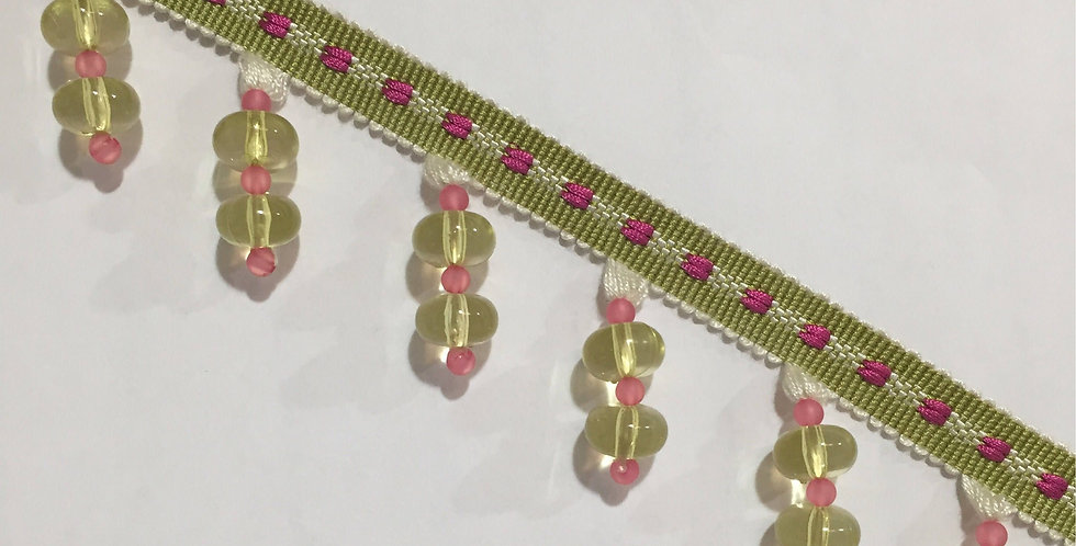 Pink and Green - Glass Beaded Trim